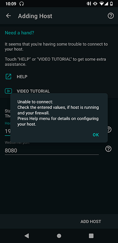 unable to connect error message 1 Yatse